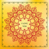 Mandala of love relaxation and meditation, ethnic patterns, gree Stock Photos