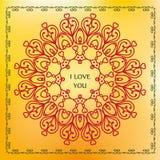 Mandala of love relaxation and meditation, ethnic patterns, gree Stock Photos