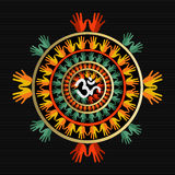 Mandala made with hands and indian om sign Stock Photo