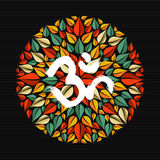 Mandala made of leaves with om sign Royalty Free Stock Images
