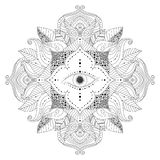 Mandala with magic eye inside flower and leaves. Hand drawn black and white mandala with magic eye inside flower, and leaves in boho style. Isolated element stock illustration
