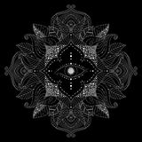 Mandala with magic eye inside flower vector. Hand drawn mandala with magic eye inside flower, and leaves in boho style on black background. Esoteric, mystical stock illustration