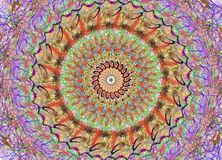 Mandala in many colours. Drawn of mandala with many colours stock illustration