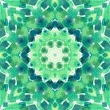 Mandala med handgjord vattenfärgtextur för konst Arkivfoto