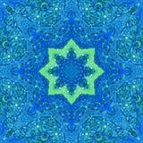 Mandala med handgjord vattenfärgtextur för konst Arkivfoton