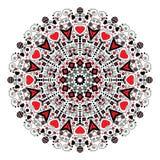 Mandala med hjärtor för valentin dag stock illustrationer