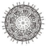 Mandala med rundor och linjer vektor illustrationer