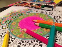Mandala. Meditation drawing done with color pencils and patience Royalty Free Stock Images
