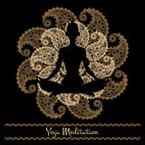 Mandala and meditation person yoga background Stock Images