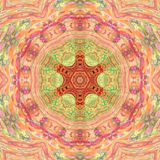 Mandala Meditative Asian-stijl arabesque in roze en oranje bleke kleuren royalty-vrije stock foto's