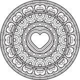Mandala met hart Decoratief rond ornament royalty-vrije illustratie