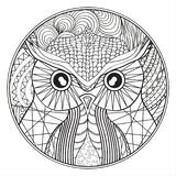 Mandala met uil vector illustratie