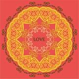 Mandala miłość relaks i medytacja, etniczni wzory, gree Zdjęcie Stock