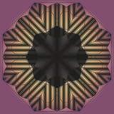 Mandala modell för rundaprydnadsvart på en lila bakgrund, des Royaltyfri Bild