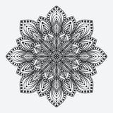 mandala modello monocromatico circolare floreale stilizzato Fotografia Stock Libera da Diritti