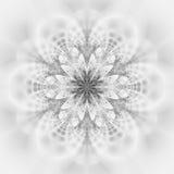 Mandala monocromática abstrata da flor no fundo branco Imagens de Stock