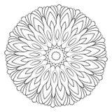 Mandala monocromática Estrella hexagonal Un modelo para un libro del color Imágenes de archivo libres de regalías