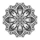 Mandala monocromática hermosa del contorno de Deco del vector Foto de archivo libre de regalías