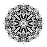 Mandala monocromática hermosa del contorno de Deco del vector Fotografía de archivo libre de regalías