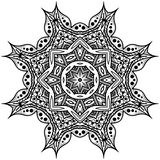 Mandala monocromática Modelo en un círculo en un fondo blanco I Imagenes de archivo
