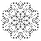 Mandala monocromatica Un modello di ripetizione nel cerchio Una bella immagine per l'album per ritagli Immagine Stock Libera da Diritti