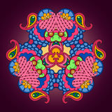 Mandala multicolora en fondo púrpura oscuro Fotos de archivo