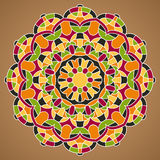 Mandala-33. Multicolored Vector Mandala. Mandala vector for art, coloring book, zendoodle. Circle Abstract Object Isolated On Brown Background stock illustration
