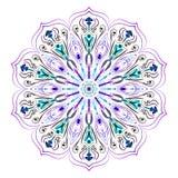 Mandala na białym, purpurowym, zielonym i błękitnym, wektorowy wizerunek dla etykietek royalty ilustracja