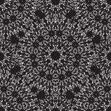 Mandala-nahtloses Muster Vector die Hand, die dünn vom Weiß auf Dunkelheit zeichnet Vektor Abbildung