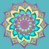 Mandala nativa india en colores en colores pastel, púrpura, turquesa, fondo azul claro azul claro, plano, imagen de la flor ilustración del vector