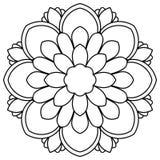 Mandala negra de la flor del esquema Garabatee alrededor del elemento decorativo para el libro de colorear aislado en el fondo bl Fotografía de archivo