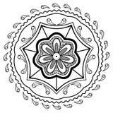 Mandala nera del fiore Immagini Stock Libere da Diritti