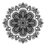 Mandala nera del tatuaggio su fondo bianco nello stile indiano di mehndi del hennè illustrazione di stock