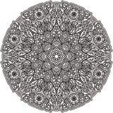 Mandala nera per colorare Pagina isolata di coloritura dell'elemento Disegno di arte Modello insolito nel tatuaggio indiano di st Fotografia Stock Libera da Diritti