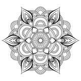 Mandala noir de fleur Modèle oriental, illustration de vecteur L'Islam, l'arabe, motifs indiens de tabouret Page de livre de colo illustration libre de droits