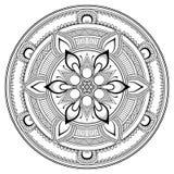 Mandala noir de fleur Modèle oriental, illustration de vecteur L'Islam, l'arabe, motifs indiens de tabouret Page de livre de colo Image libre de droits