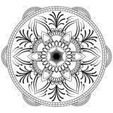 Mandala noir de fleur Modèle oriental, illustration de vecteur L'Islam, l'arabe, motifs indiens de tabouret Page de livre de colo Photographie stock libre de droits
