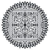 Mandala noir et blanc, ornement ethnique tribal Image libre de droits