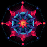 Mandala Nucleus. Symmetrical geometry forming a mandala or an abstract representation vector illustration