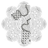 Mandala with numero one for coloring. Vector decorative zentangle Royalty Free Stock Images