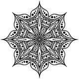 Mandala octagonal monocromática Rosetón gráfico para el álbum E Imagenes de archivo