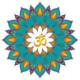 mandala Odosobniony Etniczny round ornament z om symbolem wektor Zdjęcie Stock