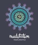 Mandala OM Modelo redondo del ornamento Elemento decorativo del trance Fondo dibujado mano Cartel del vector Imagenes de archivo