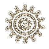 Mandala om. Round Ornament Pattern. Hand drawn background. Royalty Free Stock Images