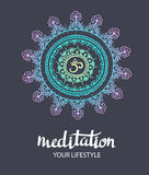 Mandala om. Round Ornament Pattern. Trance decorative element. Hand drawn background. Vector poster Stock Images