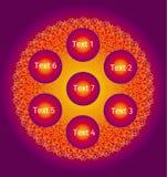 Mandala openwork creativa variopinta Nei toni porpora, rossi, gialli Simbolo orientale spirituale Vettore royalty illustrazione gratis