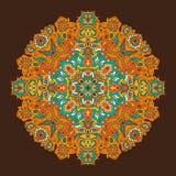 Mandala orange rougeoyant sur un fond de gradient Photographie stock libre de droits