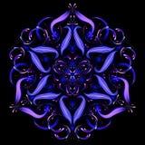 Mandala oriental abstrata Fractal abstrato bonito Vetor oriental, testes padrões da terapia do Anti-esforço Molde da ioga ilustração stock