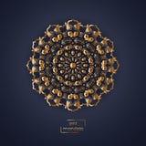 Mandala oriental de fleur ornementale d'or sur le backg bleu-foncé de couleur Images libres de droits
