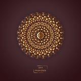 Mandala oriental de fleur ornementale d'or sur le backgrou vinicole de couleur Image stock